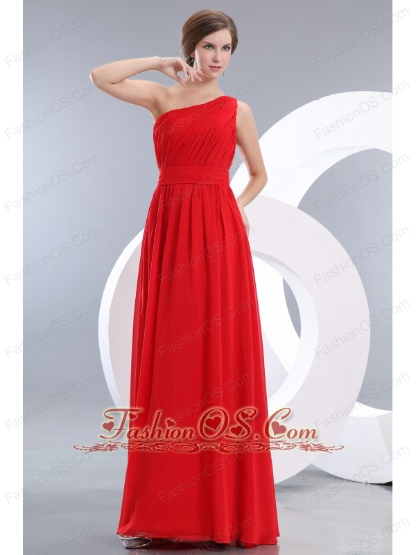Red Prom / Evening Dress Empire One Shoulder Floor-length Chiffon Ruch