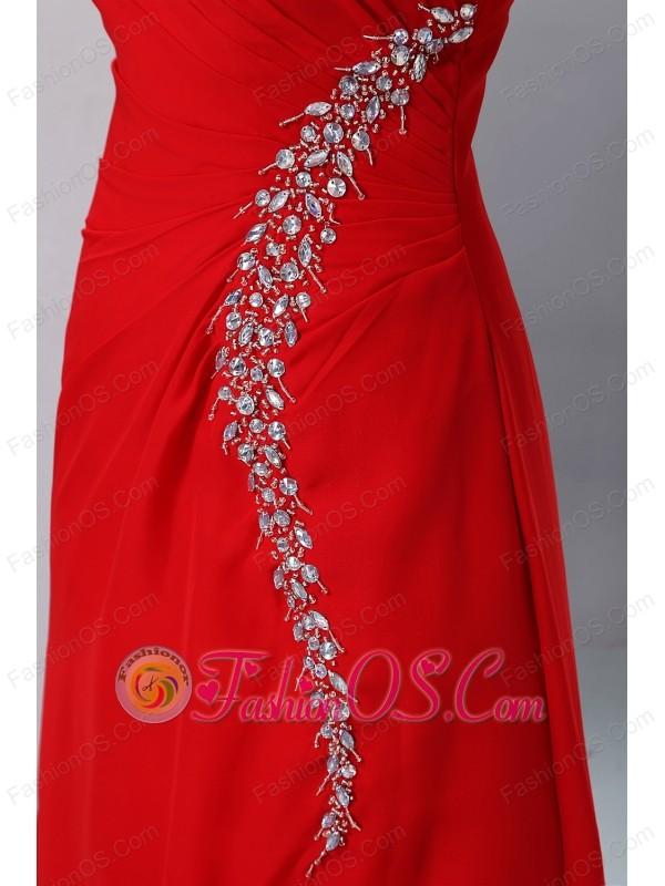 Cheap Red Prom Dress Column One Shoulder Beading Floor-length Chiffon