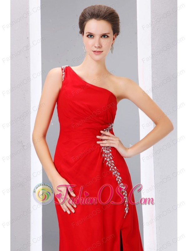 Cheap Red Prom Dress Column One Shoulder Beading Floor-length ...