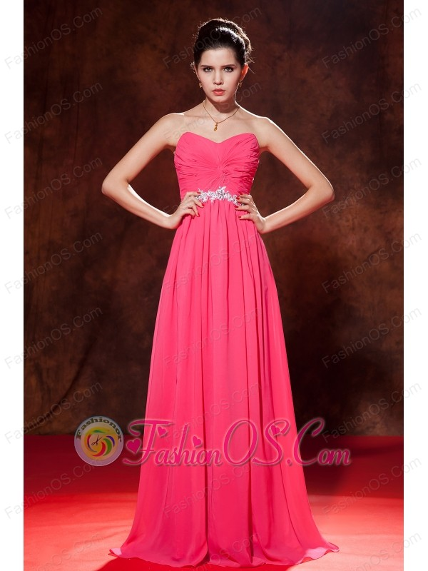 Coral Red Empire Celebrity Dress Sweetheart Chiffon Beading Floor-length