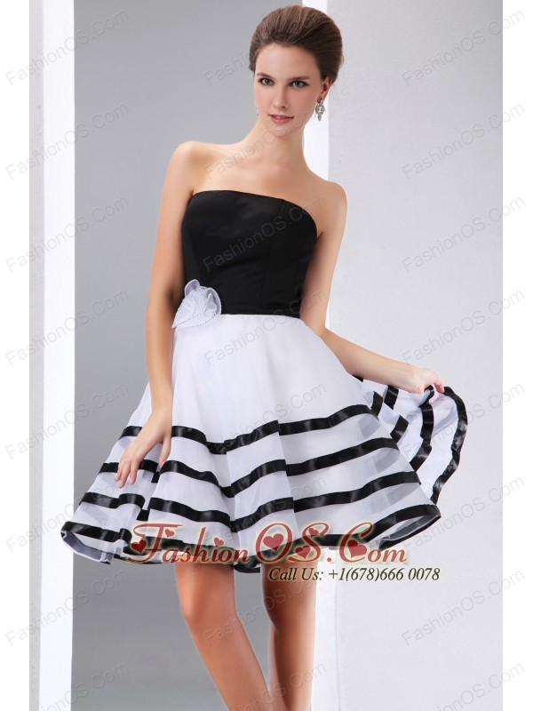 Cute Black and White Cocktail Dress A-line Strapless Hand Made ...