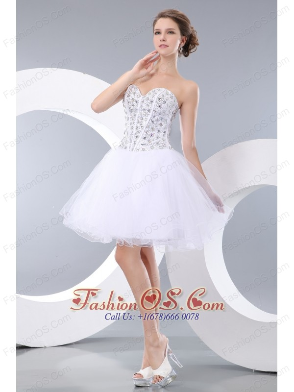 Cute White A-line / Princess Sweetheart Evening Dress Organza Beading Mini-length