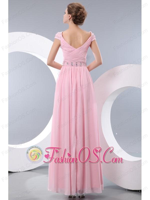 Elegant Baby Pink Empire V-neck Beading Bridesmaid Dress Floor-length Chiffon