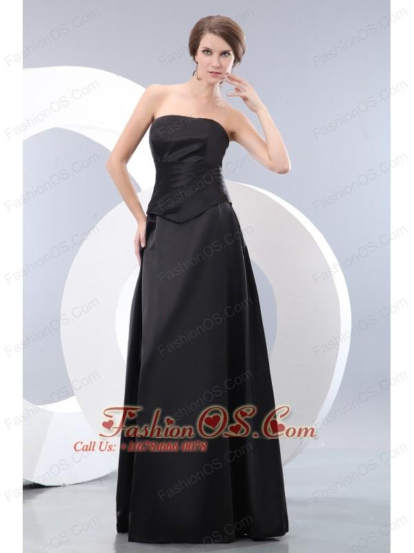 Elegant Black Empire Strapless Ruch Bridesmaid Dress Floor-length Taffeta
