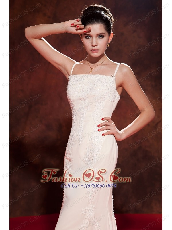 Elegant White Mermaid Spaghetti Straps Celebrity Dress Brush Train Chiffon Embroidery