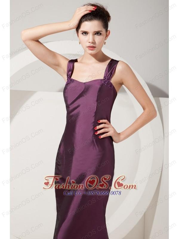 Elegant Dark Purple Mermaid Bridesmaid Dress Straps Brush Train Satin