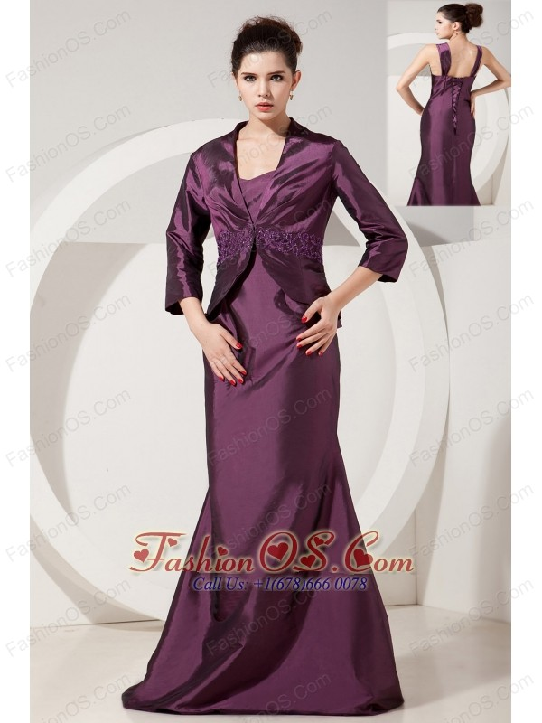 Dark Purple Mermaid Bridesmaid Dress Straps Brush Train Satin