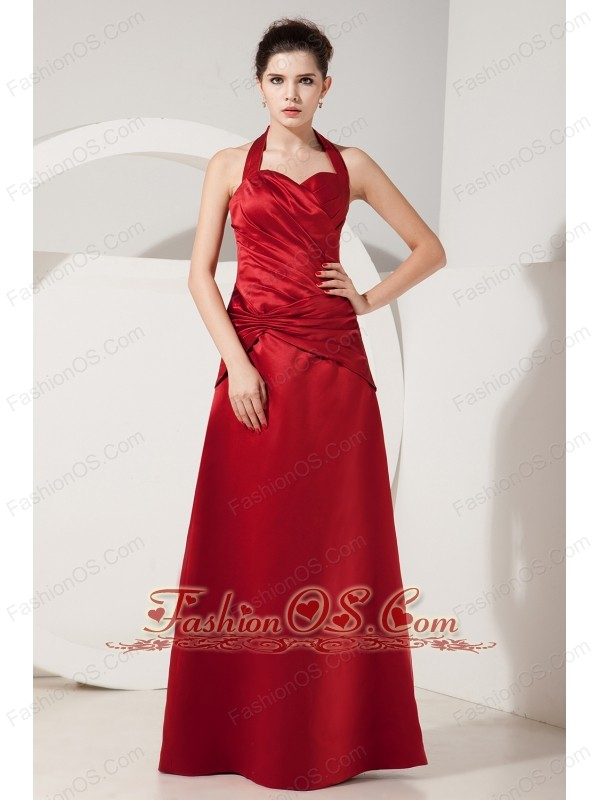 Elegant Red Empire Halter Ruch Bridesmaid Dress Floor-length Satin