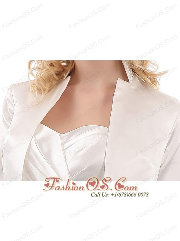 Elegant White Column Sweetheart Ruch Mother Of The Bride Dress Mini-length Taffeta