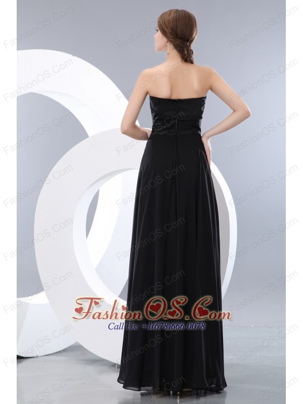 Exquisite Black Empire Sweetheart Beading Little Back Dress Floor-length Chiffon