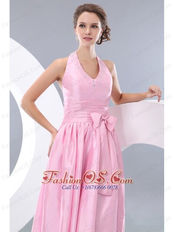 Exquisite Pink Junior Prom / Homecoming Dress Empire Halter Tea-length Taffeta Beading and Bowknot