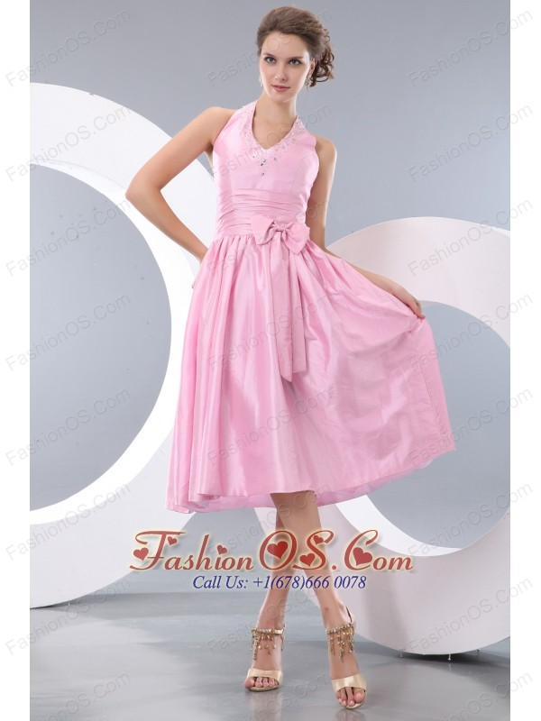 Exquisite Pink Junior Prom / Homecoming Dress Empire Halter Tea ...