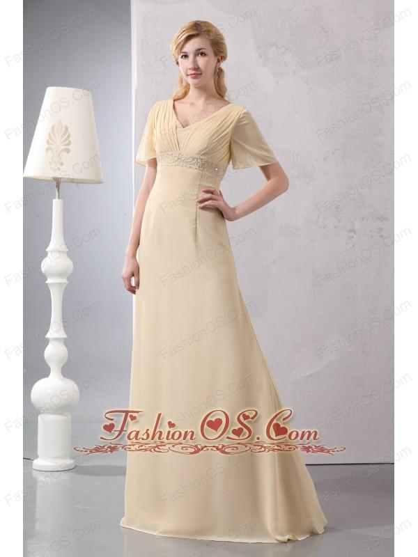Modest Light Yellow Empire Prom Dress V-neck Chiffon Beading Floor-length