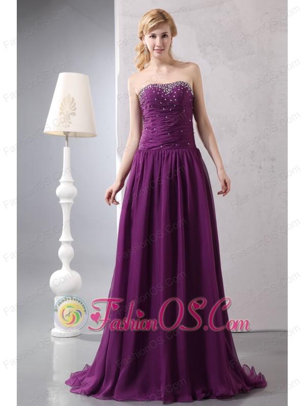 New Purple Empire Strapless Beading Mother Of The Bride Dress Brush Train Chiffon