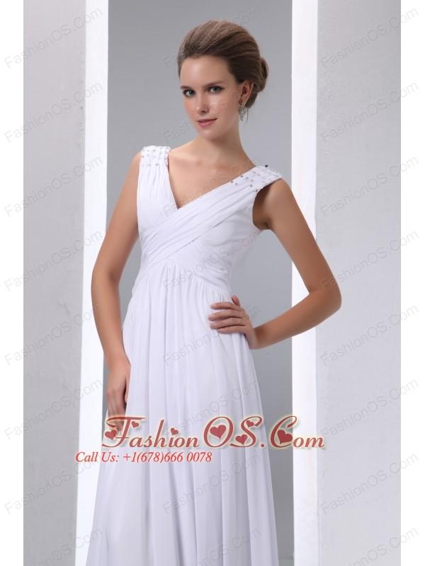 Pretty White Empire V-neck Beading and Ruch Junior Prom Dress Floor-length Chiffon