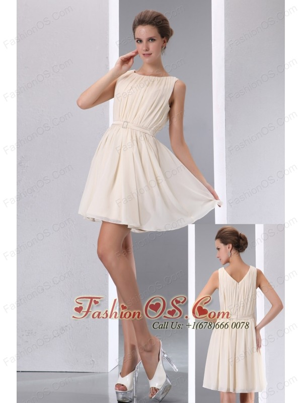 Simple Champagne Cocktail Dress Ruch A-line Sccop Mini-length ...