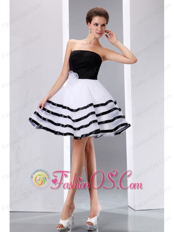 Black And White Junior Prom Dress A Line Strapless Knee Length