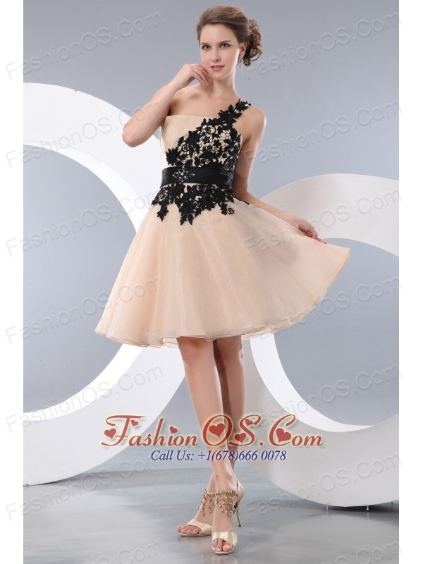 Beat Champagne Short Prom / Homecoming Dress A-line / Princess One Shoulder Mini-length Organza Appliques