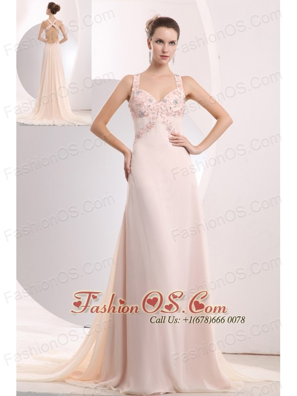Beautiful Light Pink Prom / Evening Dress Empire Straps Appliques ...