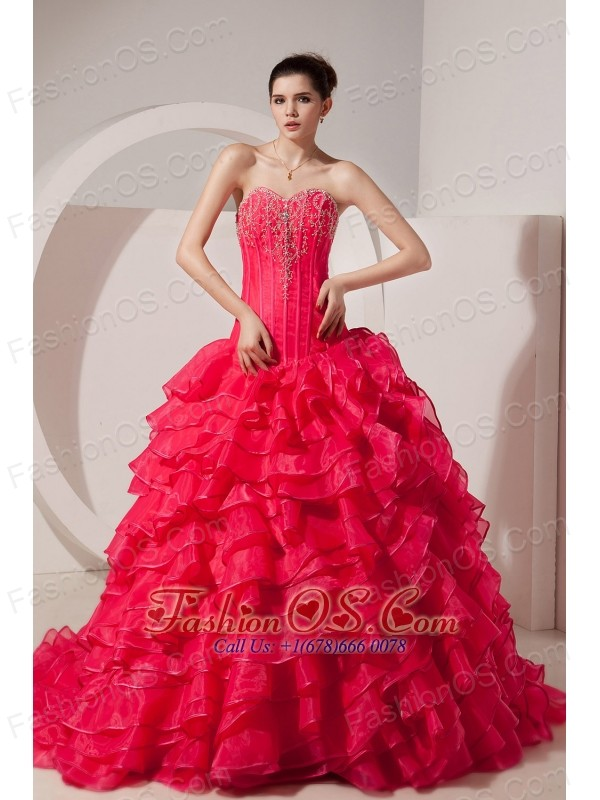 Beauty Coral Red A-line / Princess Sweetheart Sweet 16 Dress Brush Train Taffeta Beading