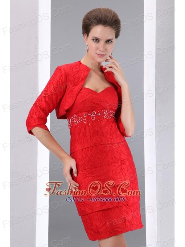 Beautiful Red Column Sweetheart Beading  Mother Of The Bride Dress Mini-length Taffeta