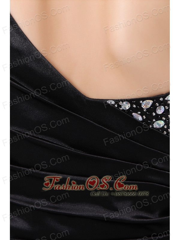 Fashionable Black Column One Shoulder Beading Short Prom / Homecoming Dress Mini-length Taffeta