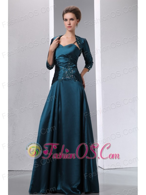 Peacock Green A-line Spaghetti Straps Appliques With Beading Mother Of The Bride Dress Floor-length Taffeta