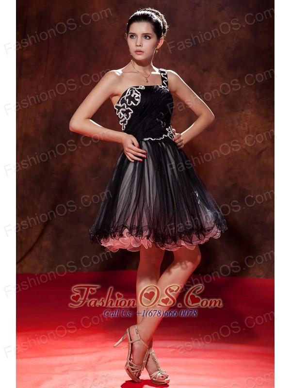 Popular Black Short Prom Dress A-line / Princess One Shoulder Mini ...