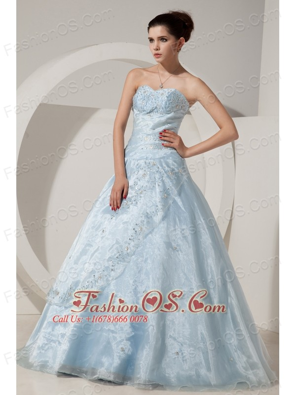 Pretty Baby Blue A-line / Princess Sweet 16 Dress Sweetheart Floor ...