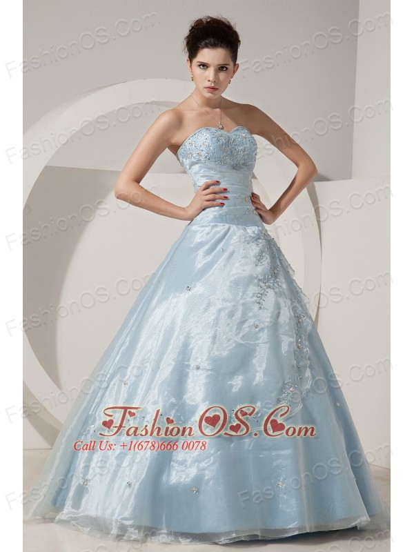Pretty Baby Blue A-line / Princess Sweet 16 Dress Sweetheart Floor-length Organza Beading