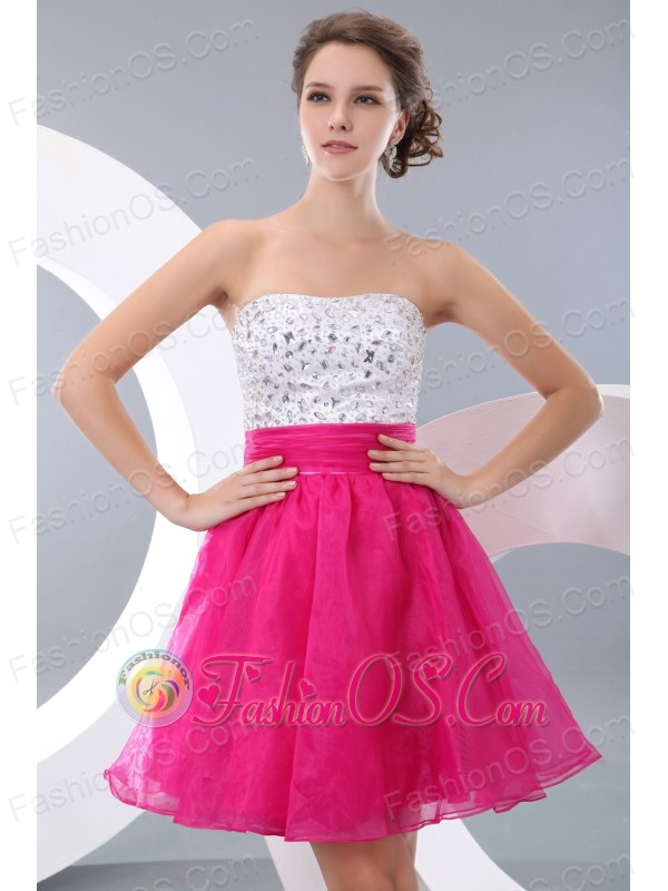 Pretty Hot Pink A-line / Princess Strapless Beading Short Prom ...