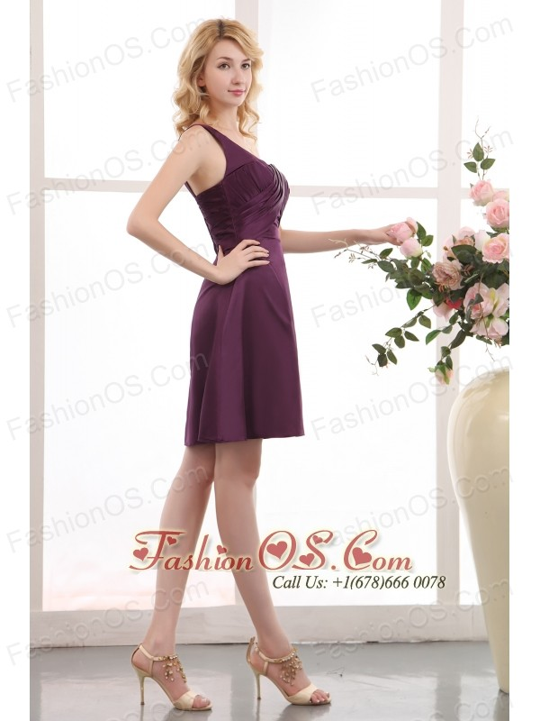 Pretty Purple Short Prom Dress Empire One Shoulder Mini-length ...