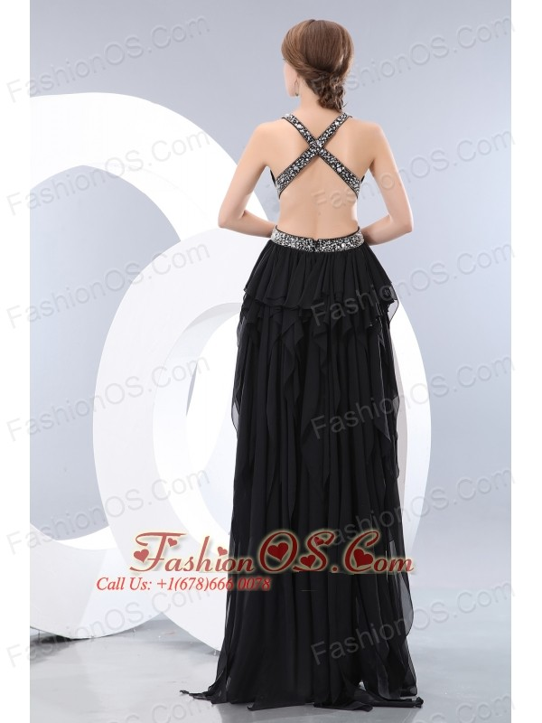 Sexy Black Prom / Homecoming Dress V-neck High-low Chiffon Beading Empire