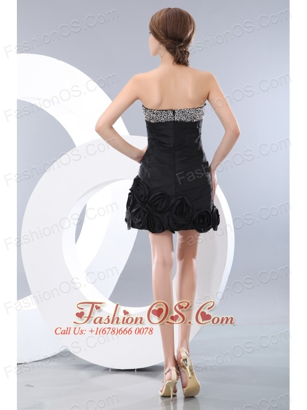 Unique Black Short Prom / Homecoming Dress A-line / Princess Sweetheart Mini-length Taffeta Beading
