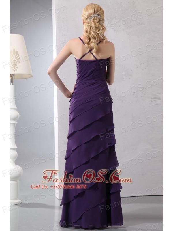 Unique Dark Purple Column Straps Prom Dress Floor-length Chiffon Ruffled Layers