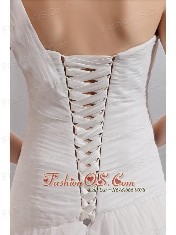Beautiful A-line One Shoulder Wedding Dress Chiffon Ruch Floor-length