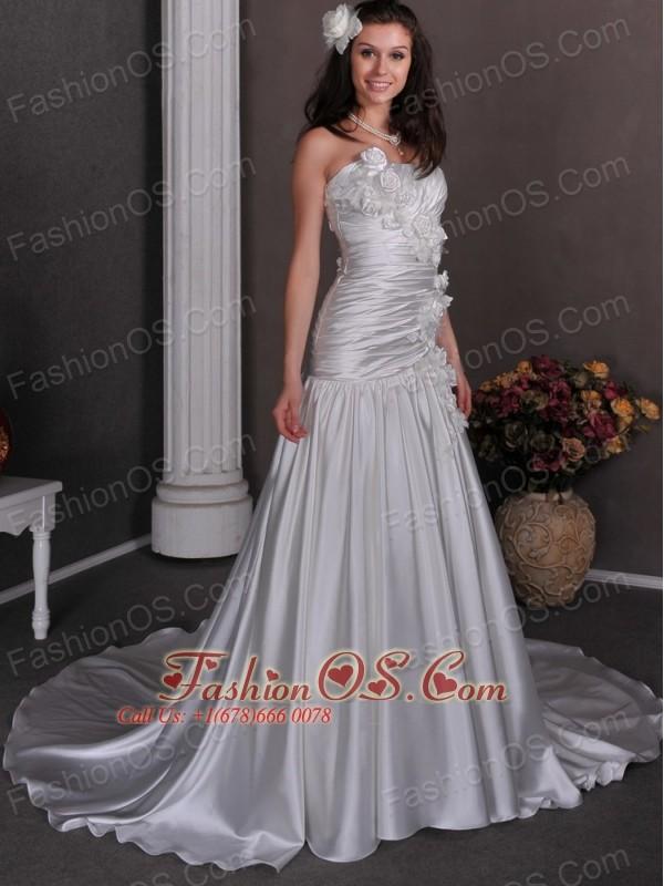Gorgeous Wedding Dress A-line Hand Made Flowers Strapless Chapel Train Taffeta