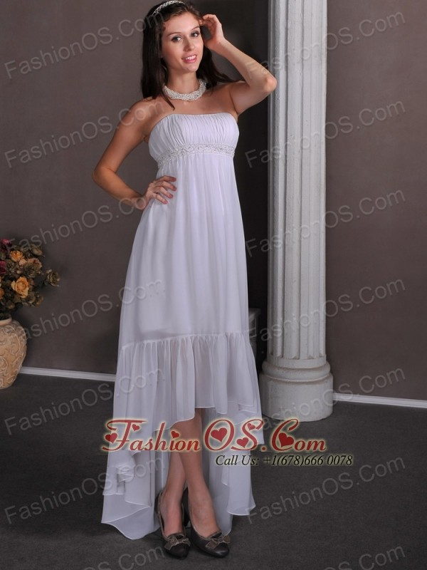 Simple Empire Strapless Beach Wedding Dress High-low Chiffon Appliques