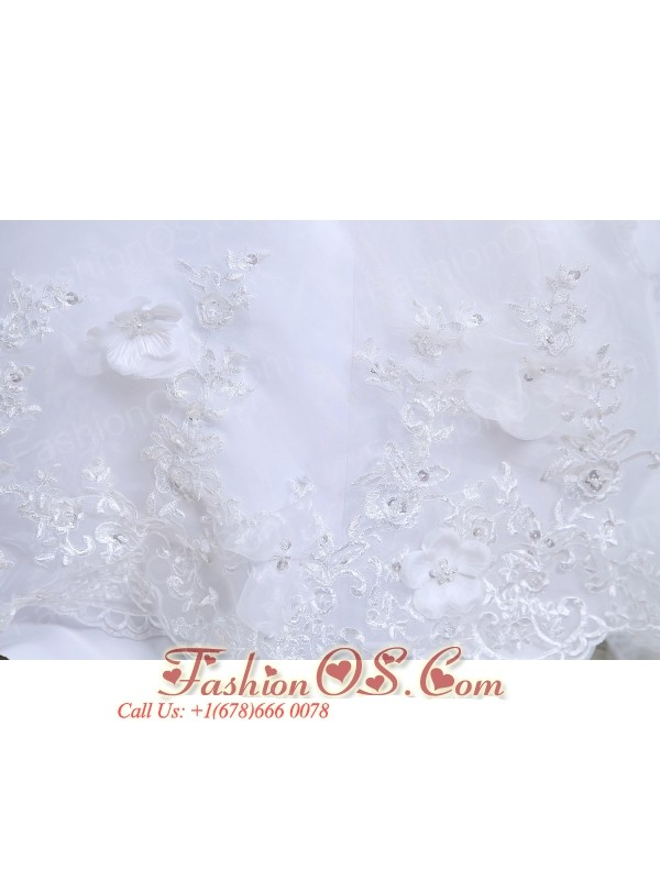 Beautiful A-line Strapless Low Cost Wedding Dress Court Train Lace Hand Made Flowers