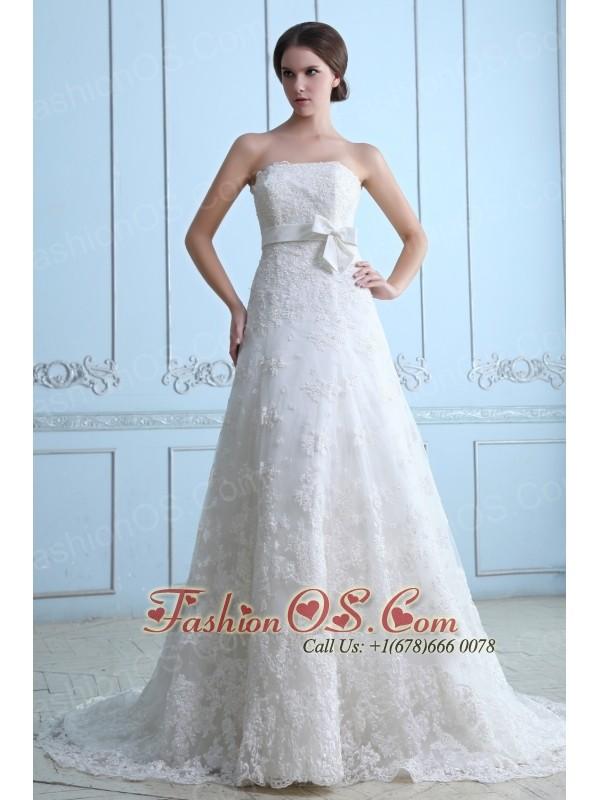 Beautiful Wedding Dress A-line Strapless Court Train Lace Sash