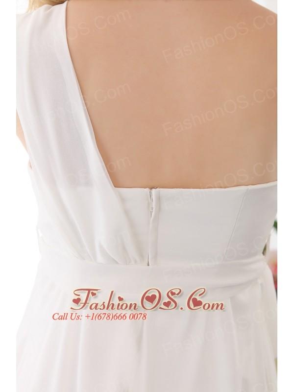 Beauty Empire One Shoulder Maternity Wedding Dress Chiffon Sash Floor-length