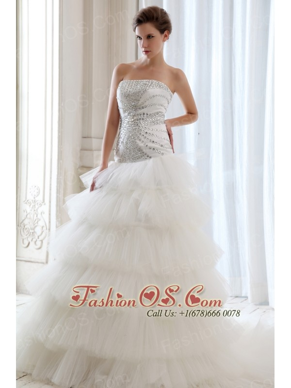 Best Wedding Dress A-line Strapless Beading Court Train Tulle