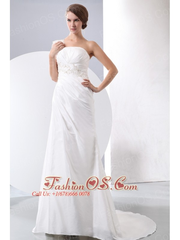 Elegant Column One Shoulder Court Train Taffeta Appliques With Beading Wedding Dress