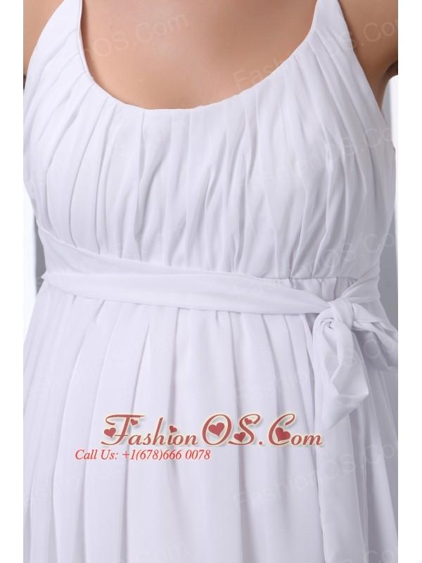 Elegant Empire Scoop Maternity Wedding Dress Chiffon Ruch Floor-length
