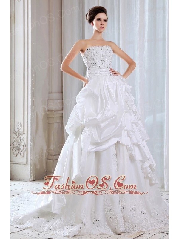 Elegant Wedding Dress Lace and Beading A-line Strapless Chapel Train Taffeta