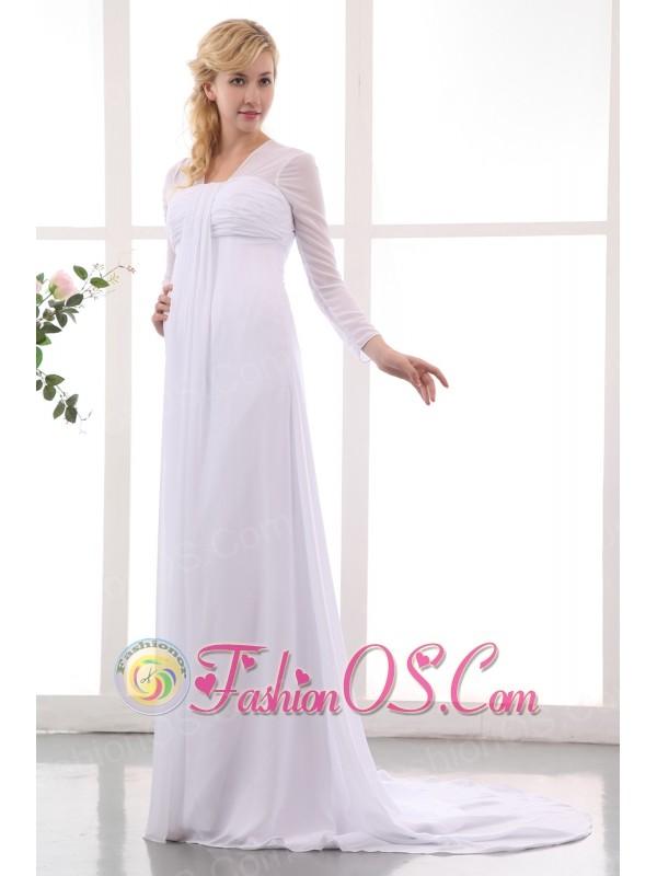 Formal Empire Square Maternity Wedding Dress Court Train Chiffon Ruch