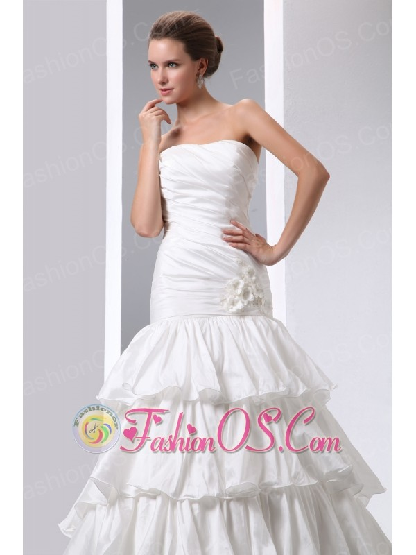 Gorgeous A-line Strapless Low Cost Wedding Dress Court Train Taffeta Hand Made Flower and Ruch