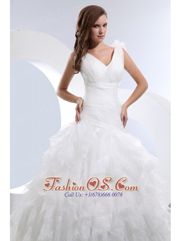 Gorgeous A-line V-neck Ruffles and Ruch Wedding Dress Brush Train Taffeta and Organza