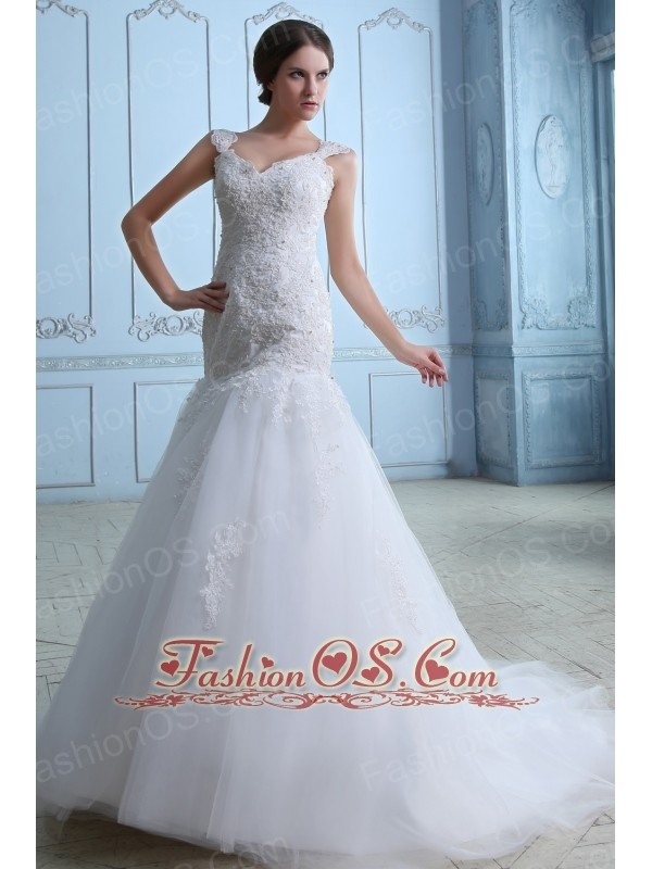 Lovely Mermaid Straps Low Cost Wedding Dress Brush Train Tulle Lace