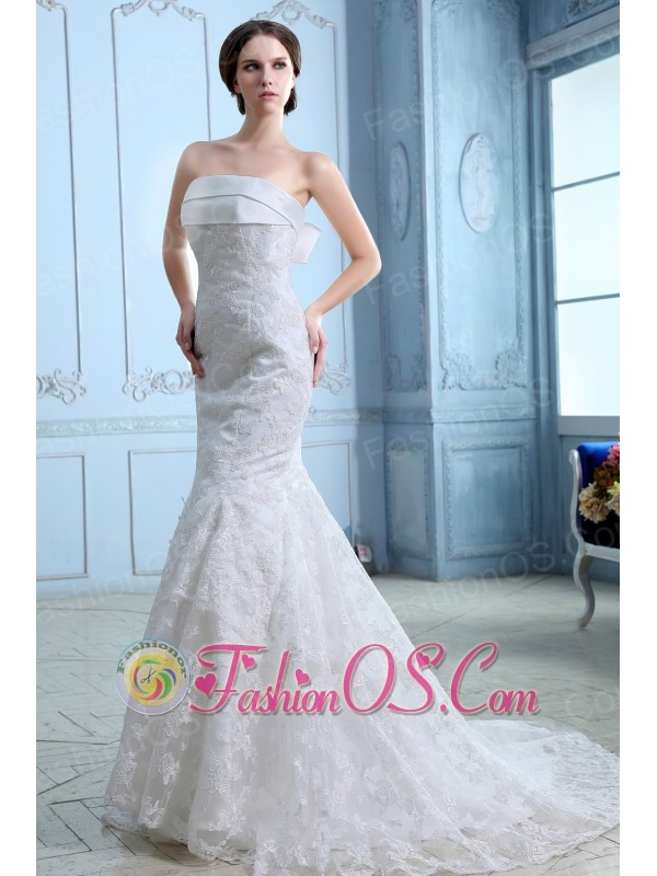 Low Price Wedding Dress Mermaid Strapless Court Train Satin Lace